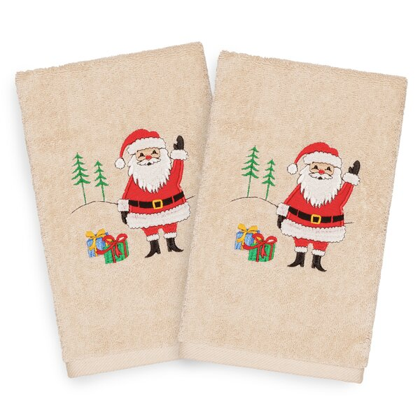 Beam Santa Waving Embroidered Luxury 100% Turkish Cotton Hand Towel (Set of 2) by The Holiday Aisle